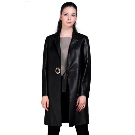 今升 西装领宽松绵羊皮皮风衣长款女外套·黑色