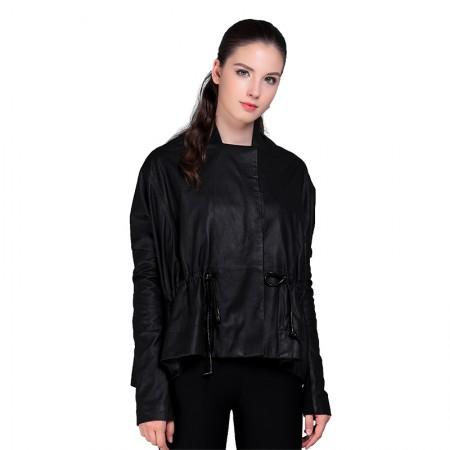 今升 立领系带磨砂抽褶宽松绵羊皮风衣中长款女外套·黑色