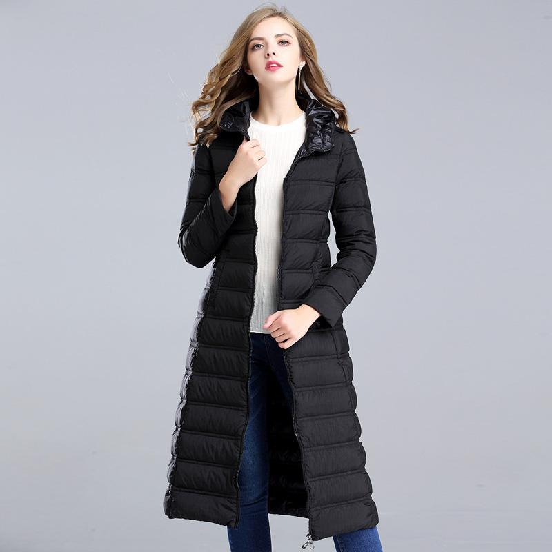 漫丽依 秋冬新款韩版轻薄中长款羽绒服·黑色