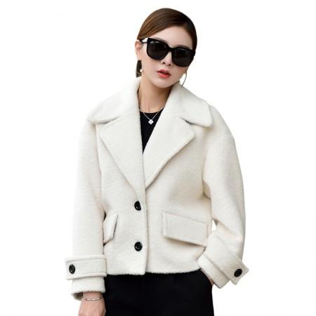 哈勃思娜 2017秋季韩版短款海宁皮草外套170915·米白色