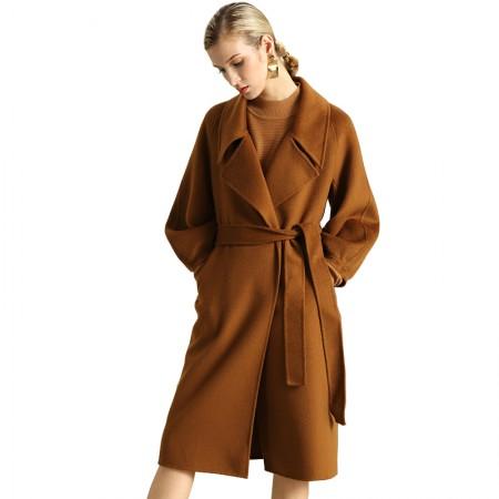 今升 九分袖大翻领灯笼袖双面羊毛羊绒呢大衣(配腰带)·焦糖色