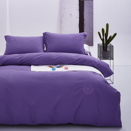常久 高品质六十支全棉贡缎刺绣四件套 200x230cm 紫色·紫色