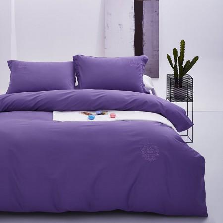 常久 高品质六十支全棉贡缎刺绣四件套 220*240cm 紫色·紫色