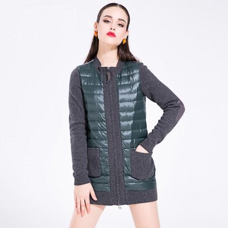 迪欧达 女士时尚圆领呢料羽绒服·墨绿