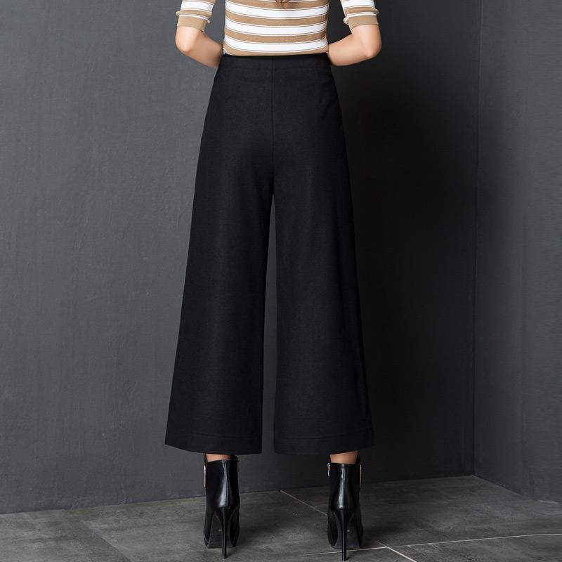 莺卡 羊毛尼加厚9分阔腿裤·黑色