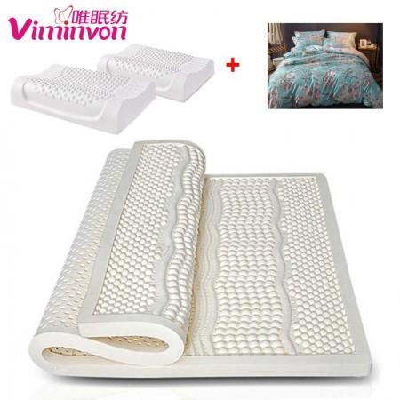 唯眠纺乳胶按摩床垫套组1.8米(送乳胶枕2个+全棉四件套1套)