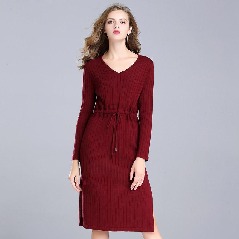漫丽依 秋季羊毛v领收腰针织衫·酒红