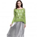 MAREUNROLS时尚女装镂空破洞宽松针织衫·绿色