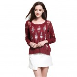 MAREUNROLS时尚女装镂空破洞宽松针织衫·枣红
