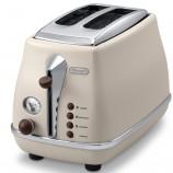 意大利德龙(Delonghi) CTO2003(奶油白)多士炉 面包机 吐司机 烤面包机 家用 不锈钢 防尘盖·奶白