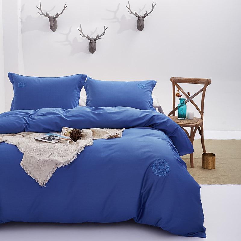 常久 高品质六十支全棉贡缎刺绣四件套 220*240cm 宝石蓝·蓝色