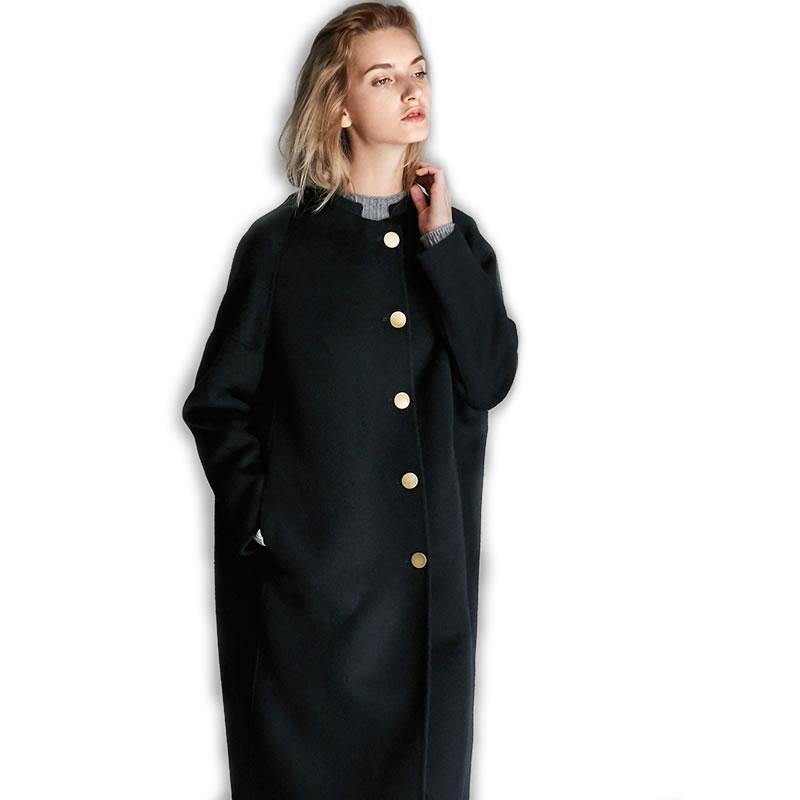 丁摩 小立领羊毛外套1004·藏青