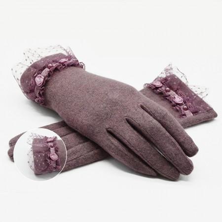 Wise Heburn秋冬羊绒蕾丝珠花手套·皮紫色