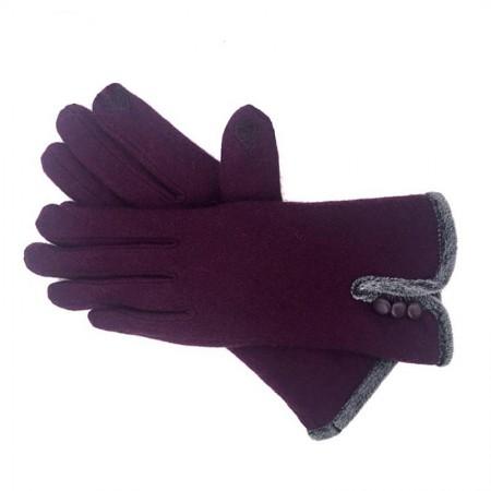 Wise Heburn 简约触屏羊绒手套·紫色
