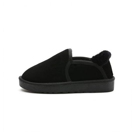 奈绮儿 地靴短靴短筒雪地棉鞋平底保暖女鞋·黑色