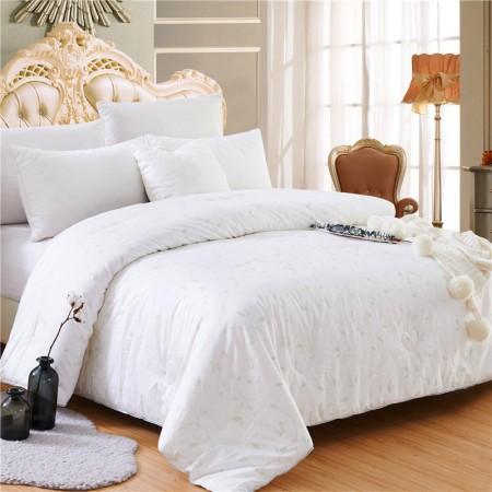 常久 全棉印花蚕丝被加厚冬被200*230cm 6斤 风雅·白色