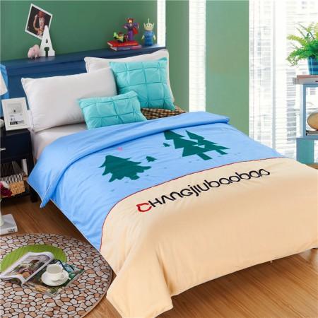 常久 全棉可拆洗儿童蚕丝被  150*200cm3斤 卡丹圣树蓝·蓝色