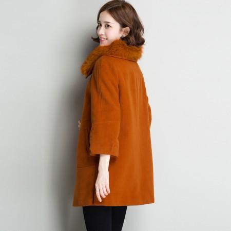 诺爱娜NAINAO 纯羊毛宽松休闲带毛领外套16075·橙色