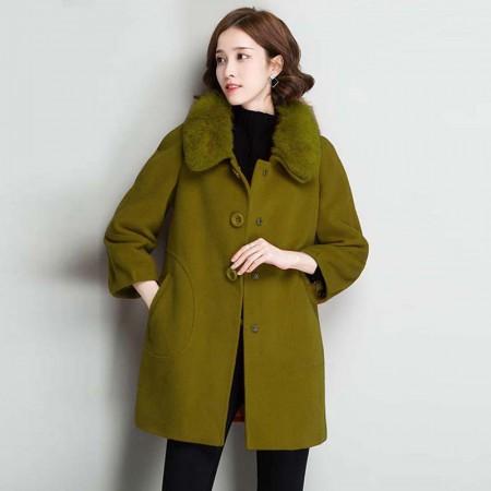 诺爱娜NAINAO 纯羊毛宽松休闲带毛领外套16075·秋香绿