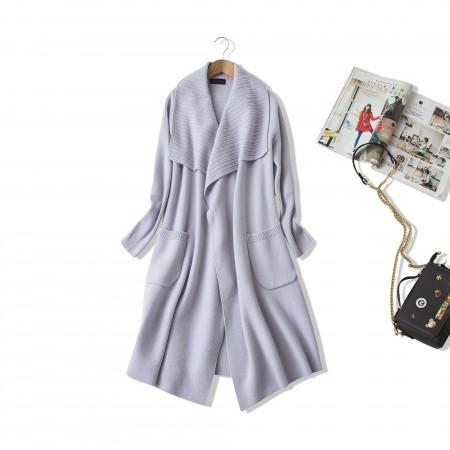NUOYI设计款绵羊绒针织大衣开衫·淡紫