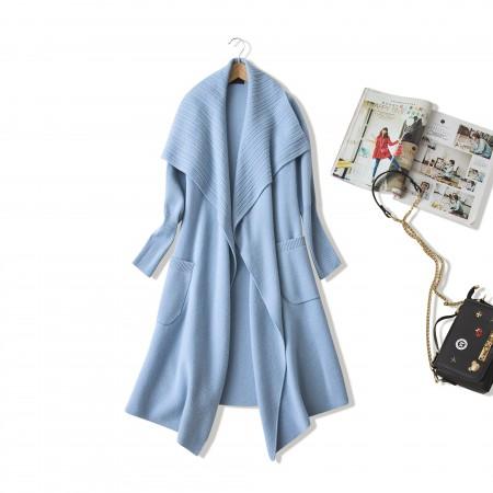 NUOYI设计款绵羊绒针织大衣开衫·灰绿