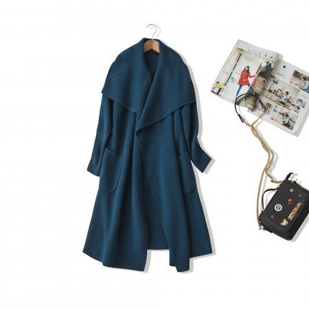 NUOYI设计款绵羊绒针织大衣开衫·墨绿