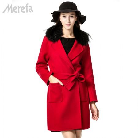 Merefa 都市暖意双面呢大衣·红色