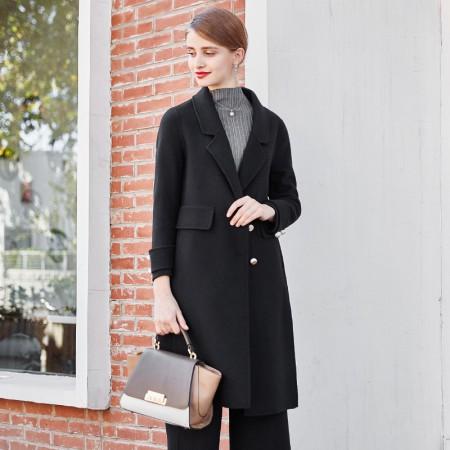 衣品姿 纯羊毛双面呢大衣66809·黑色