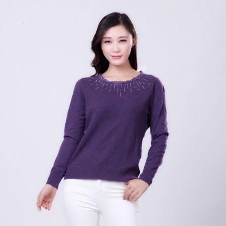 花口领羊毛衫·紫色
