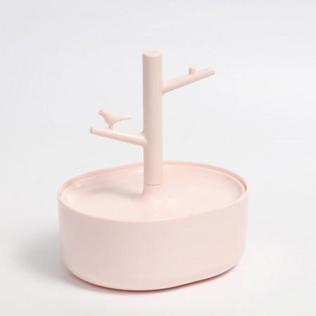 悦兔 小鸟多层圆形储物盒首饰盒·粉色