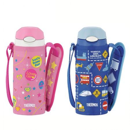 膳魔师(THERMOS)不锈钢儿童保温杯卡通吸管杯斜跨杯儿童/宝宝FFI-400