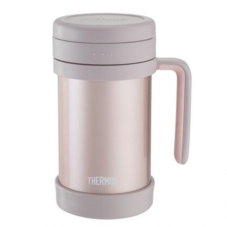 膳魔师(THERMOS) 保温杯办公室茶漏男女便携泡茶水杯TCMF-501浅银红