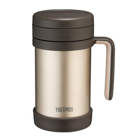 膳魔师(THERMOS) 保温杯办公室茶漏男女便携泡茶水杯TCMF-501金色·