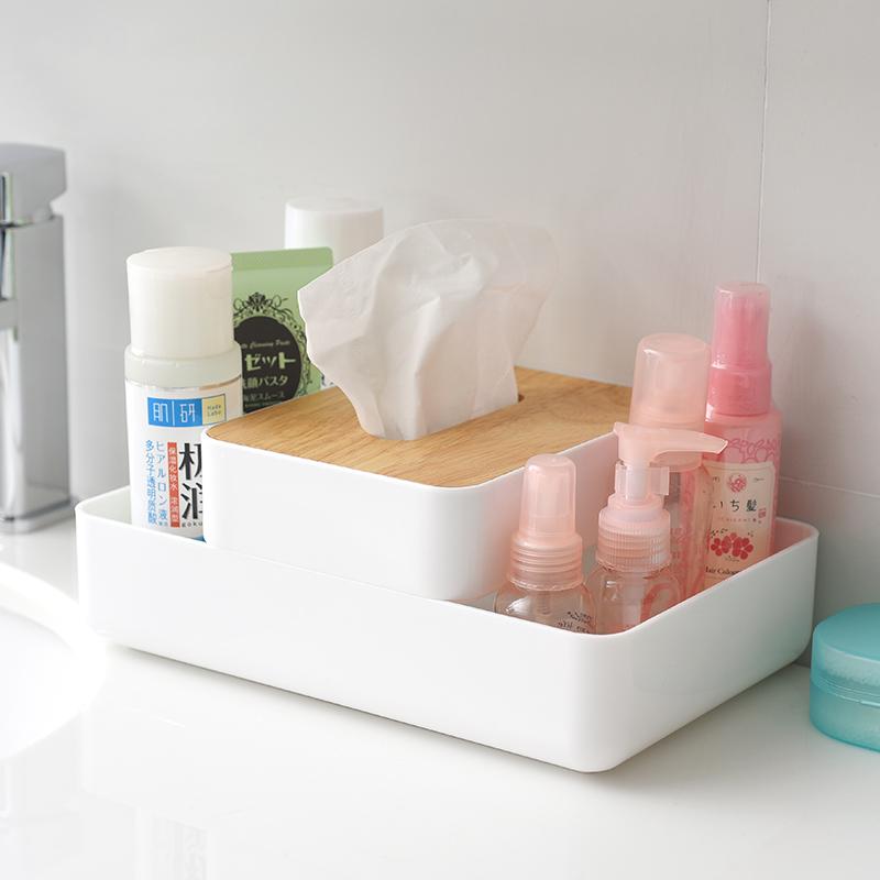 SP SAUCE 高档多功能橡木抽纸盒纸巾盒 1个·白色