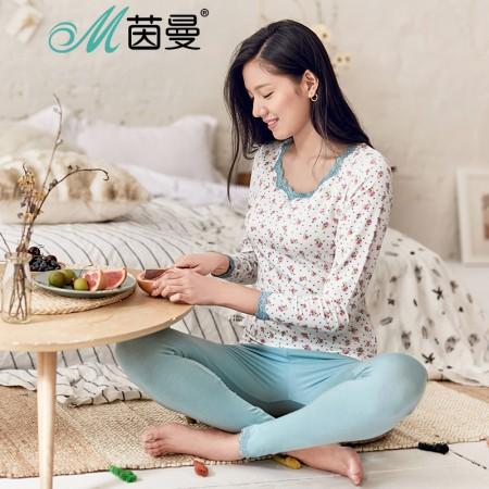 茵曼内衣 蕾丝莫代尔印花睡衣保暖套装家居服套装女 9873486382·蓝花