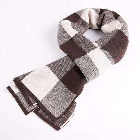 海谜璃(HMILY)优质羊皮秋冬季经典格子纹男士围巾舒适保暖围脖礼盒包装送礼之选