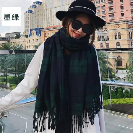 海谜璃(HMILY)英伦时尚秋冬季苏格兰格子围巾长款保暖披肩双面多色印花流苏围巾H9007·墨绿