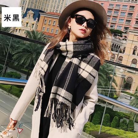 海谜璃(HMILY)英伦时尚秋冬季苏格兰格子围巾长款保暖披肩双面多色印花流苏围巾H9007·米黑