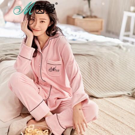 茵曼内衣 舒适甜美韩版娃娃翻领睡衣家居服套装女秋冬98744830460·粉色