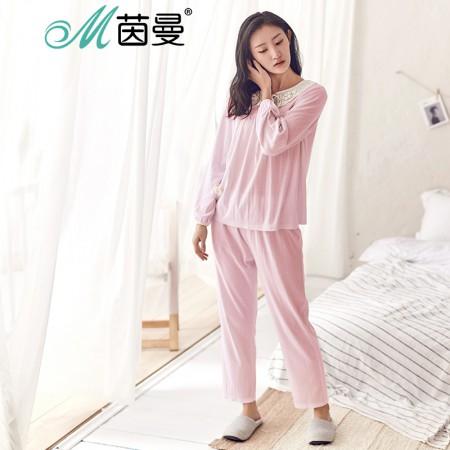 茵曼内衣 娃娃领蝴蝶结蕾丝 宽松直筒棉质家居服套装 98734830411·浅粉