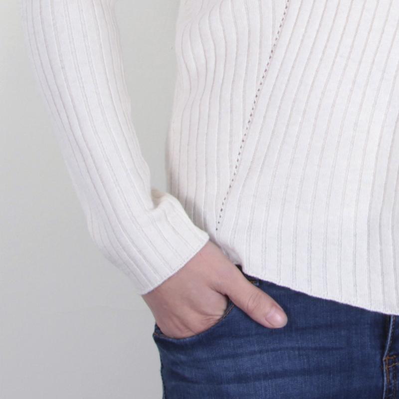 丁摩 羊毛斜纹开叉打底针织衫7906·白色
