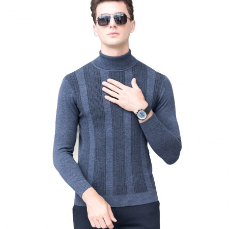 皮尔卡丹羊毛衫男高领条纹撞色长袖针织衫纯羊毛毛衣·灰色
