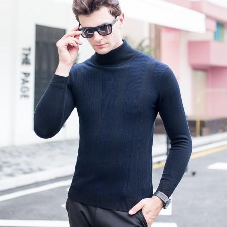 皮尔卡丹羊毛衫男高领条纹撞色长袖针织衫纯羊毛毛衣·藏青
