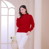 (恒源祥集团)彩羊高领烫钻修身羊毛衫·大红