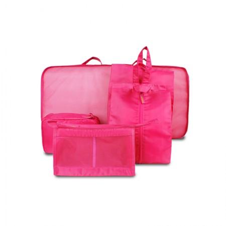 吉优百 出游行李箱整理包轻便旅行收纳袋·7件组·玫红色