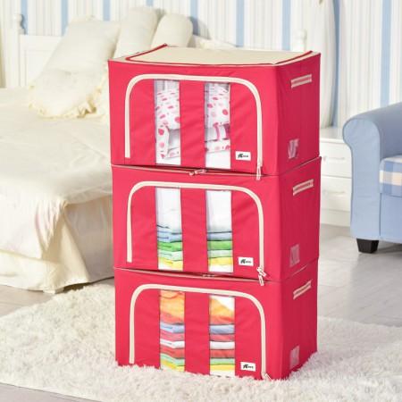 吉优百 韩式素色百纳箱(55L*3)·3件组·红色