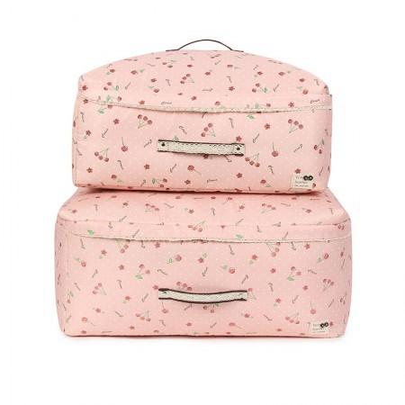 吉优百 可洗软态棉被收纳袋(大号2+加大号2)·4件组·粉色樱桃