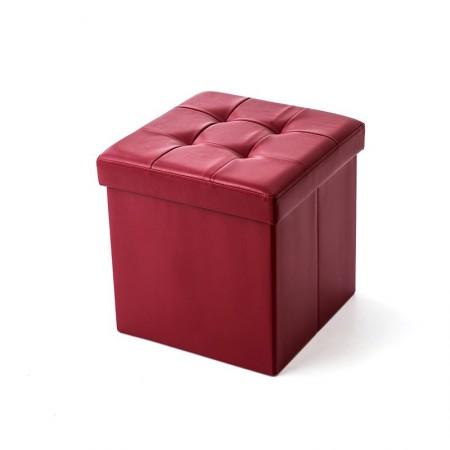 吉优百 方形可折叠收纳箱沙发凳·55L·酒红色