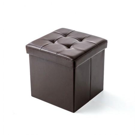 吉优百 方形可折叠收纳箱沙发凳·55L·棕色
