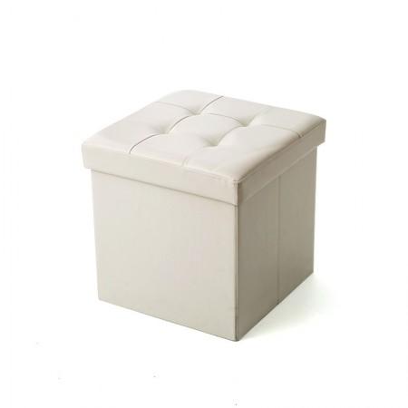 吉优百 方形可折叠收纳箱沙发凳·55L·米白色